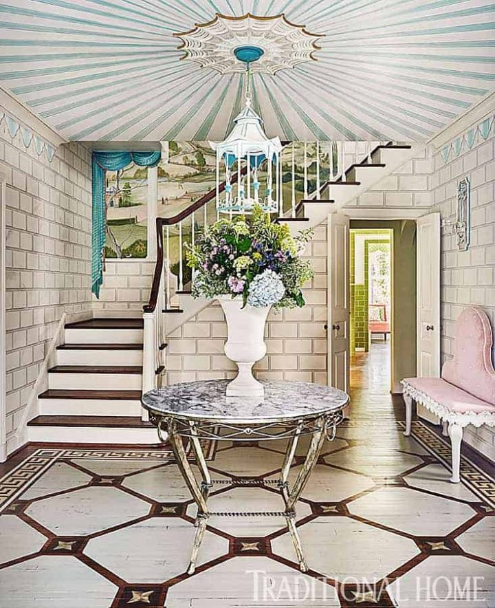 Entryway with a starburst pattern painted on the ceiling by Jason Oliver Nixon via traditionalhome.com