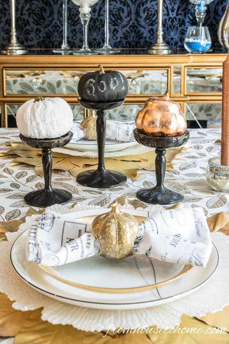 This tutorial for making DIY copper leaf fake pumpkins is the BEST! I love that I can upgrade my ugly faux pumpkins into trendy copper ones without spending a lot of money. Perfect for fall decorating! Definitely pinning! #pumpkin #falldecorating #falldecor