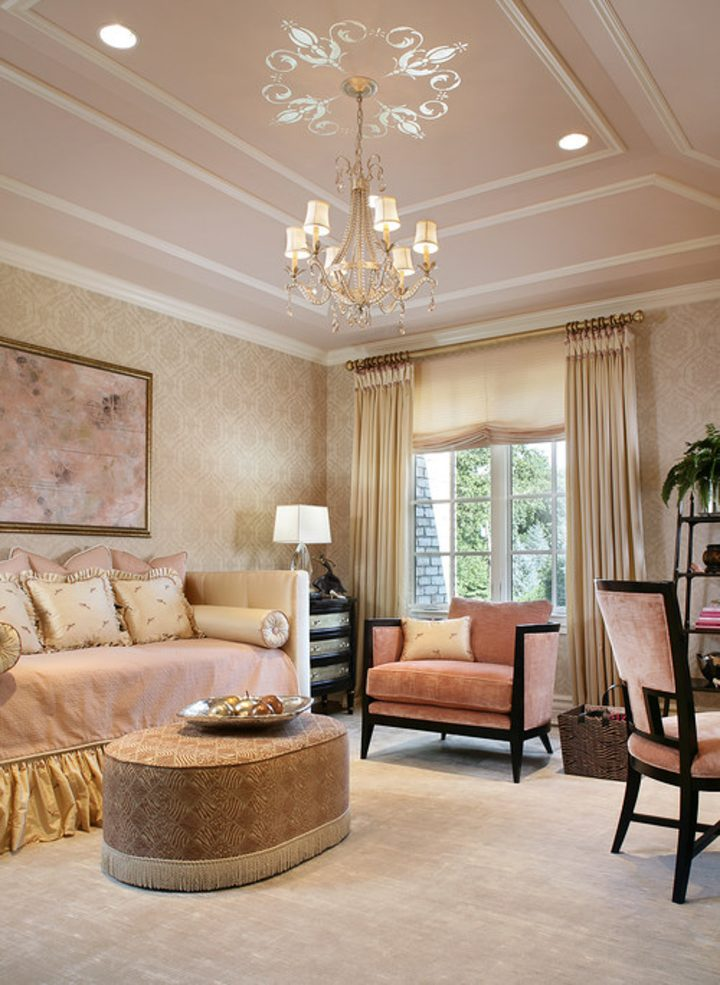 Pink bedroom with moldings on the ceiling