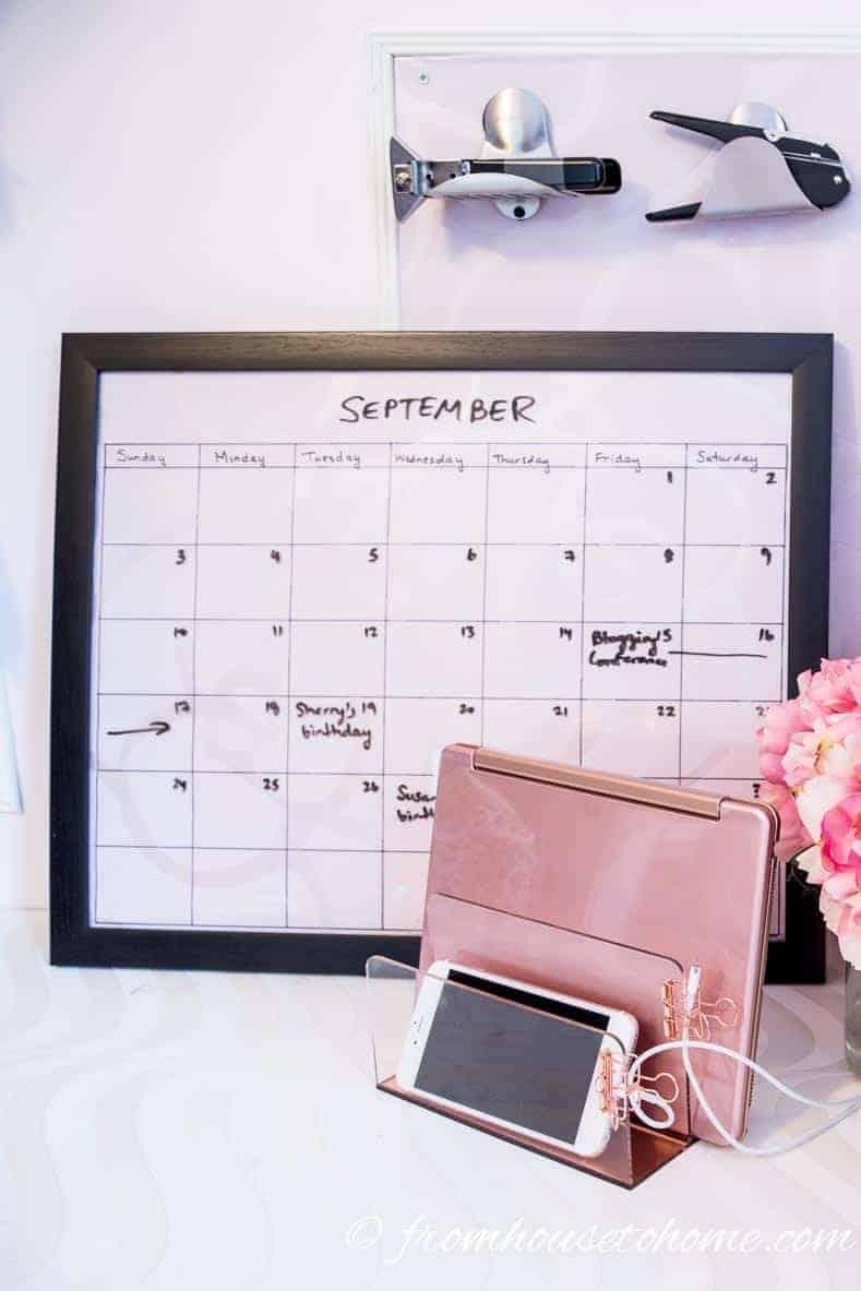 DIY picture frame dry erase calendar