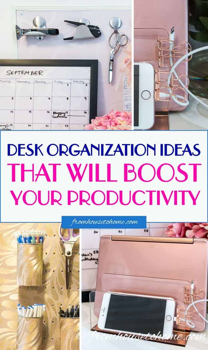 These desk organization hacks are AWESOME! They will definitely help to get my home office desk organized and I will even use some of them for my work desk, too! Love the rose gold office supplies.