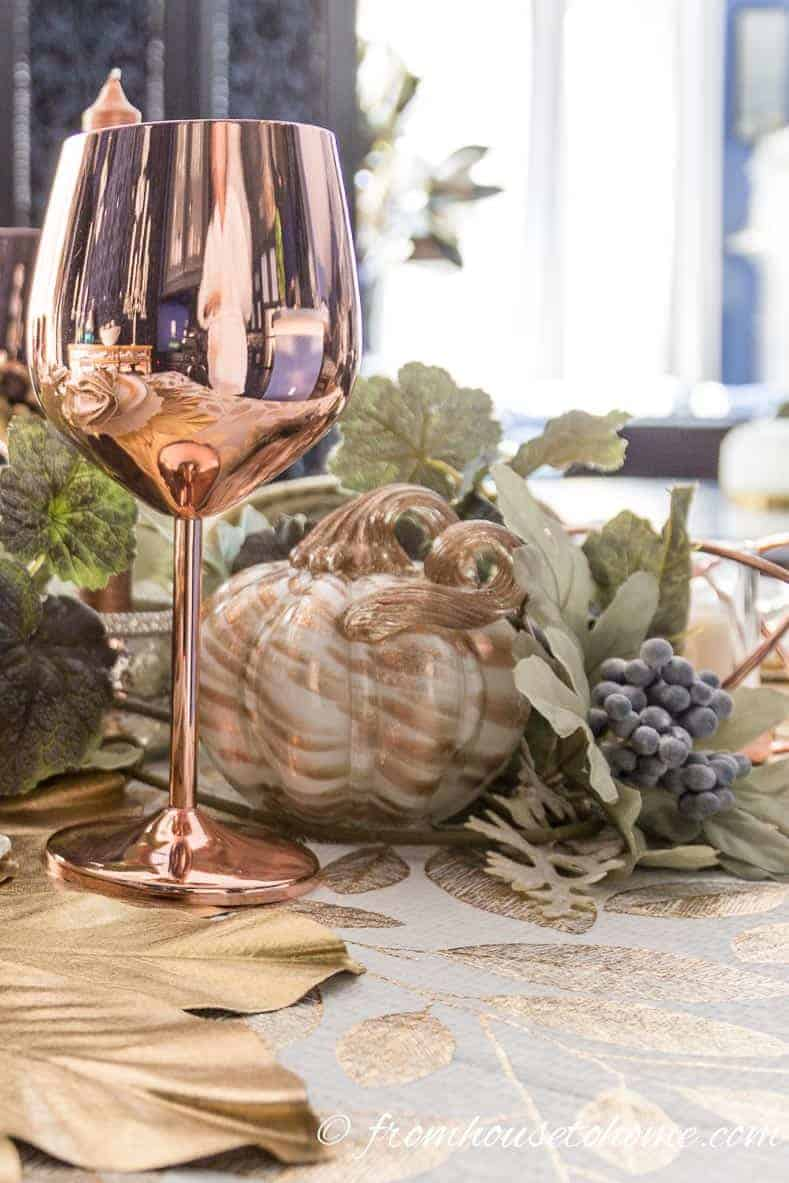 copper and gold fall tablescape