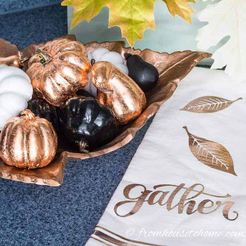 Copper leaf fake pumpkins used for fall home decor