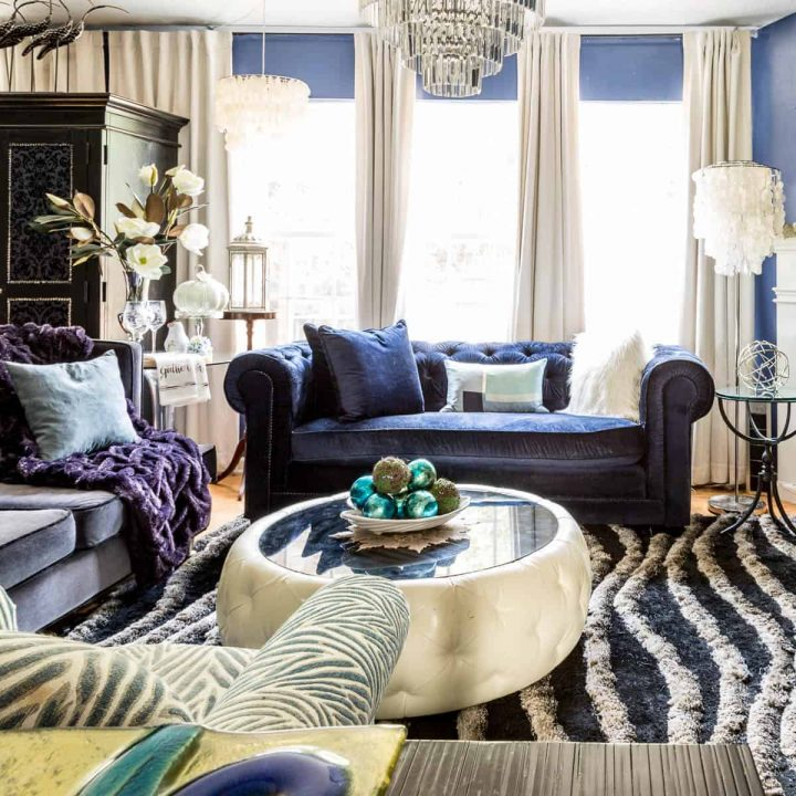 fall home tour 2017 blue and white living room