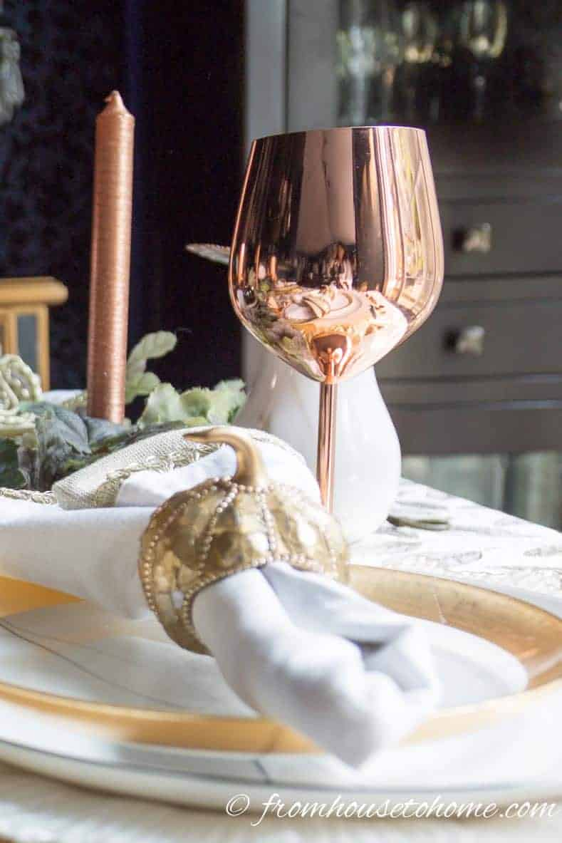 Copper wine glasses are perfect for a copper fall table
