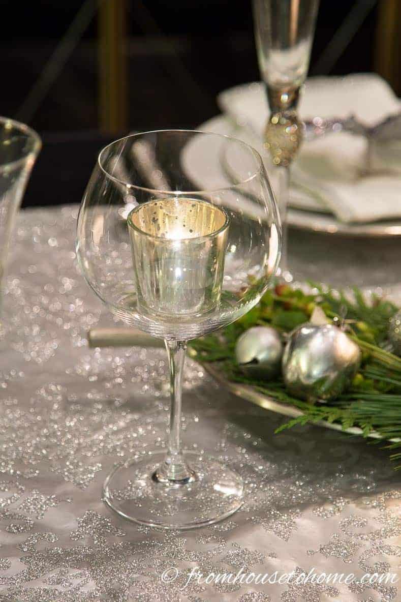 Wine glasses make good candle holders
