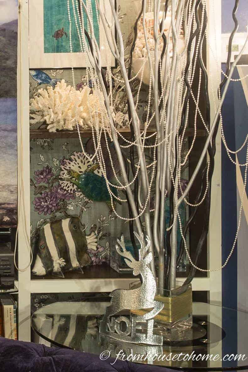 Curly willow branches with beads | Blue and White Christmas Home Decorating Ideas