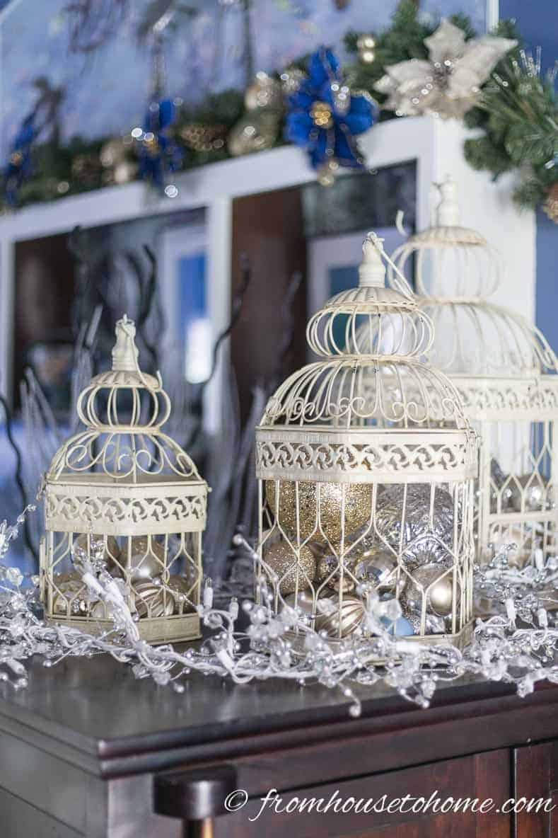Bird cages with ornaments and lights | Blue and White Christmas Home Decorating Ideas