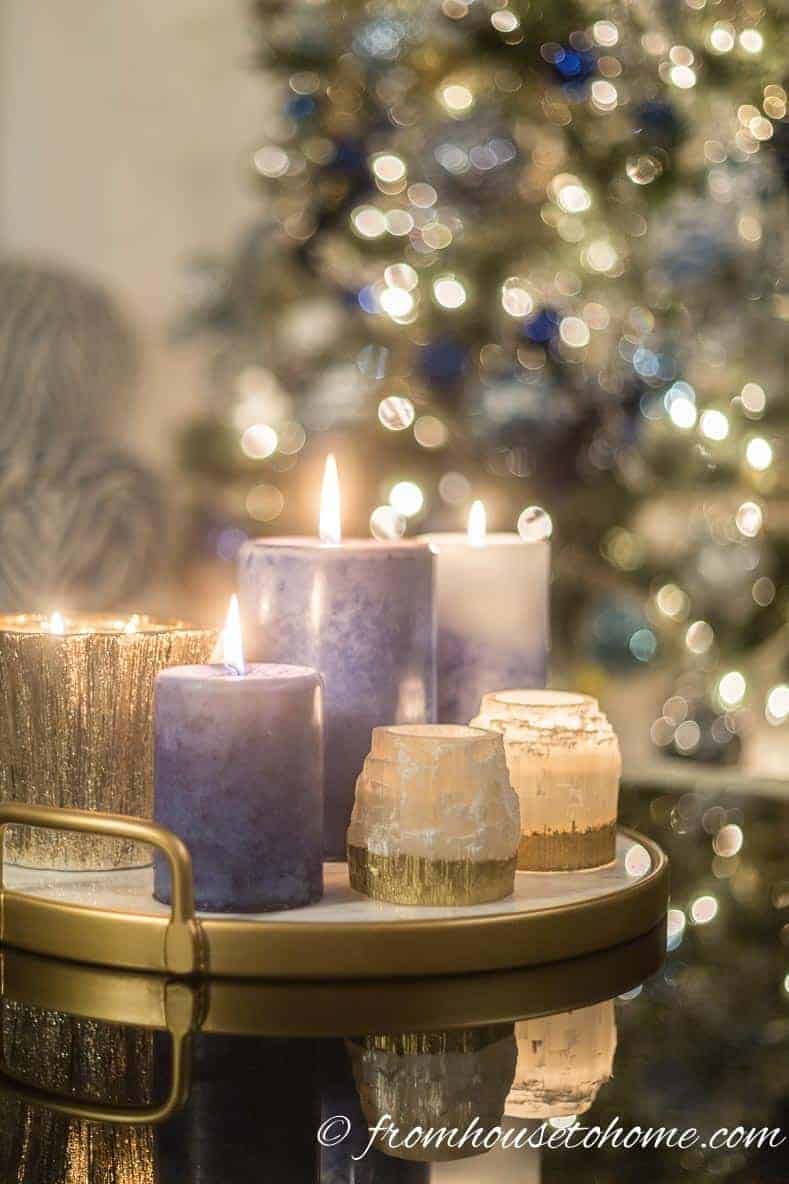 Blue, white and gold candles | Blue and White Christmas Home Decorating Ideas