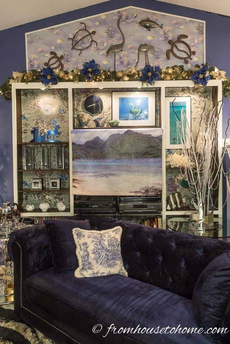 Living room shelves with Christmas decor | Blue and White Christmas Home Decorating Ideas