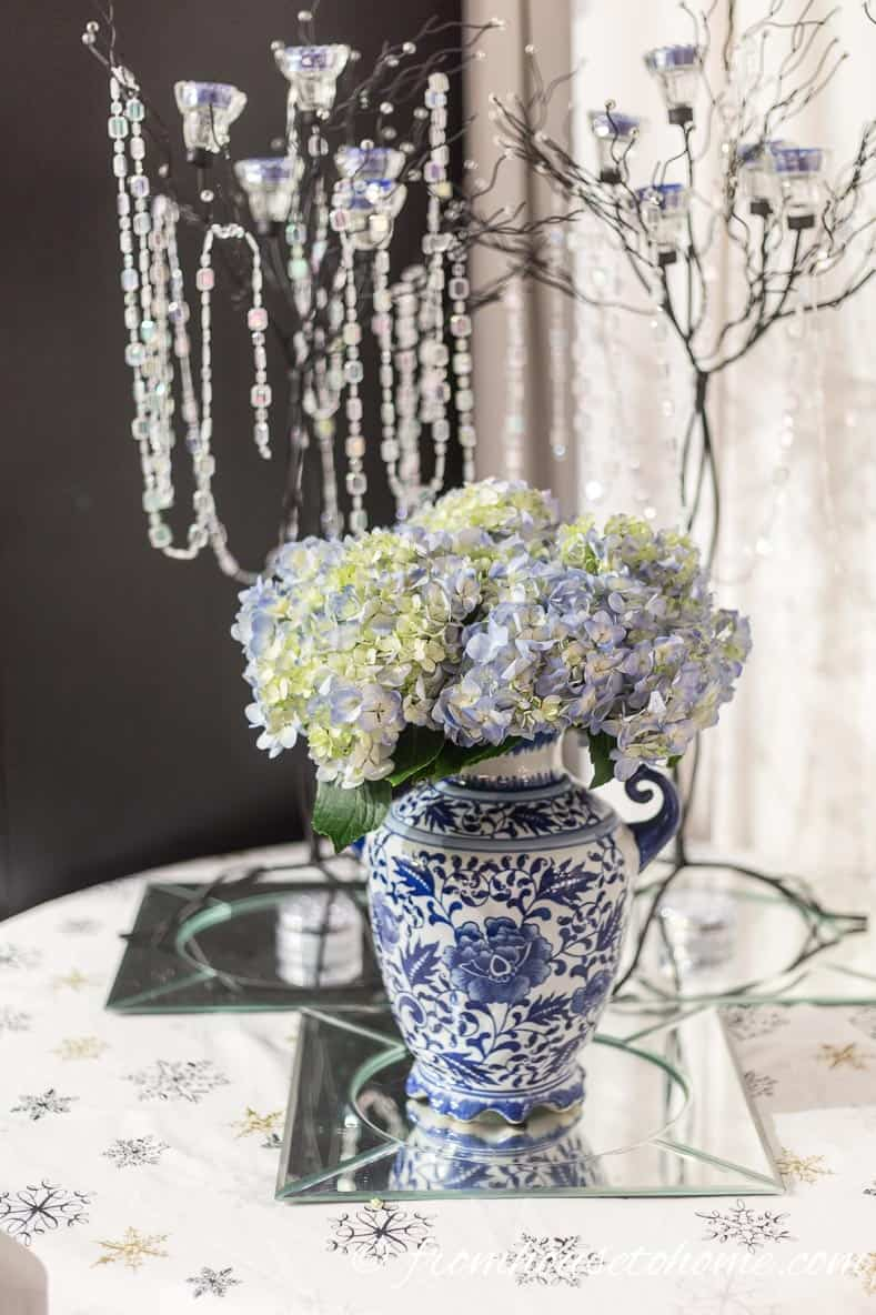 Blue hydrangeas with candle trees | Blue and White Christmas Home Decorating Ideas