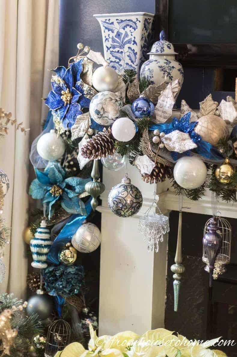 These blue and white ginger jars were the inspiration for the garland | Blue and White Christmas Home Decorating Ideas