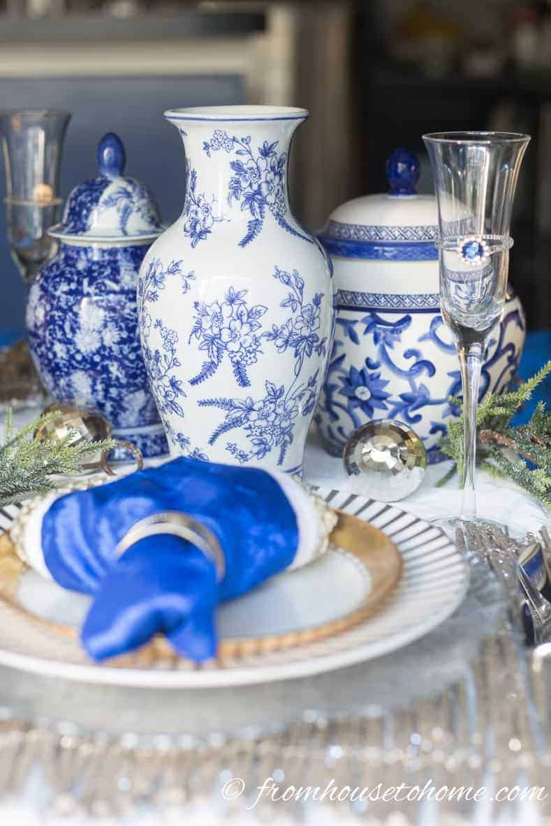 Blue and white ginger jar table centerpiece | Blue and White Christmas Home Decorating Ideas