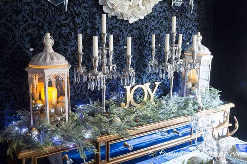 Christmas Joy buffet decor | Blue and White Christmas Home Decorating Ideas