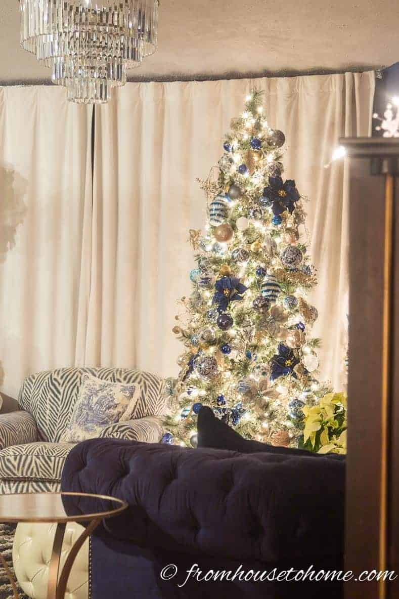 The Christmas tree is the focal point of the living room | Blue and White Christmas Home Decorating Ideas