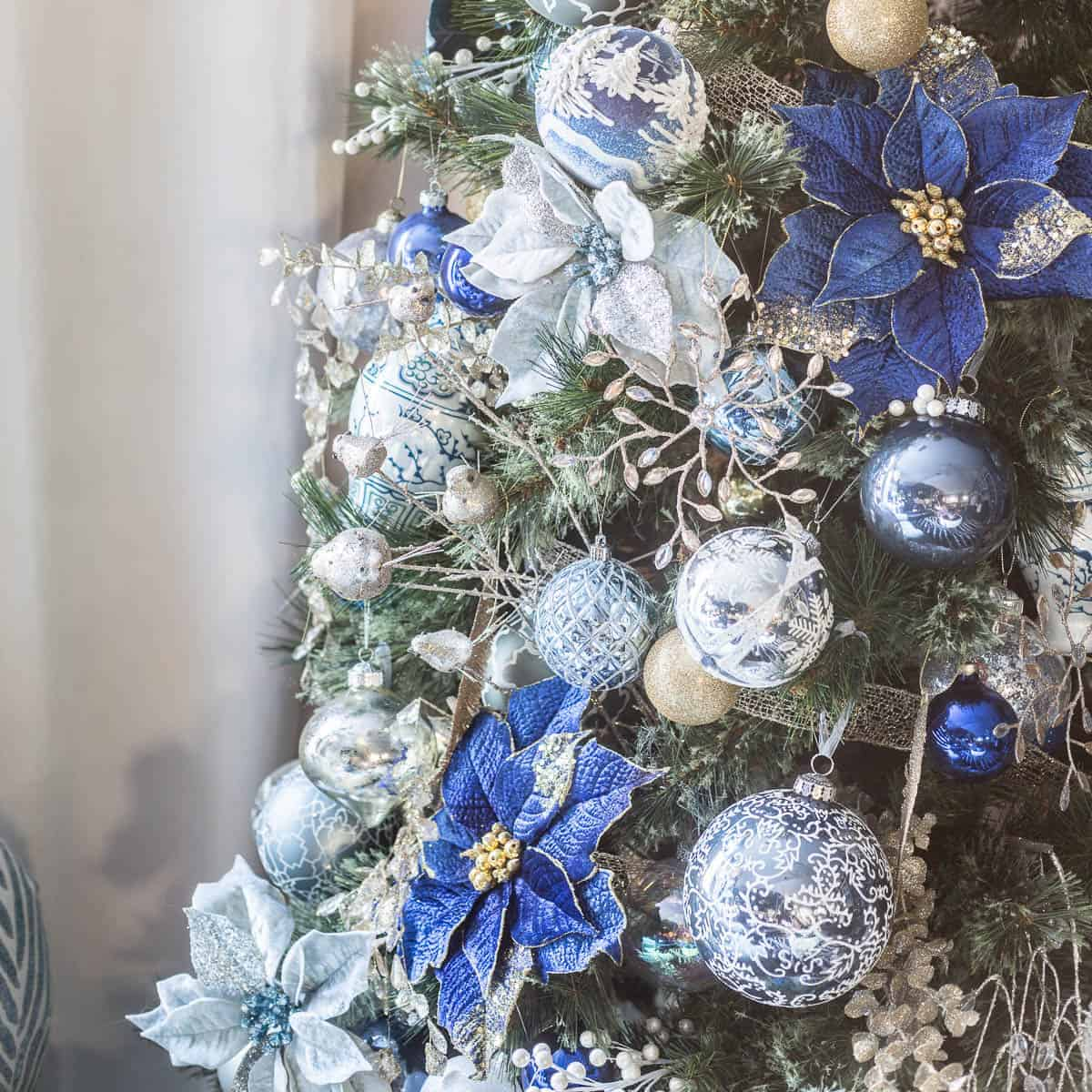 Blue White And Gold Christmas Tree Decor plus 40 Bloggers
