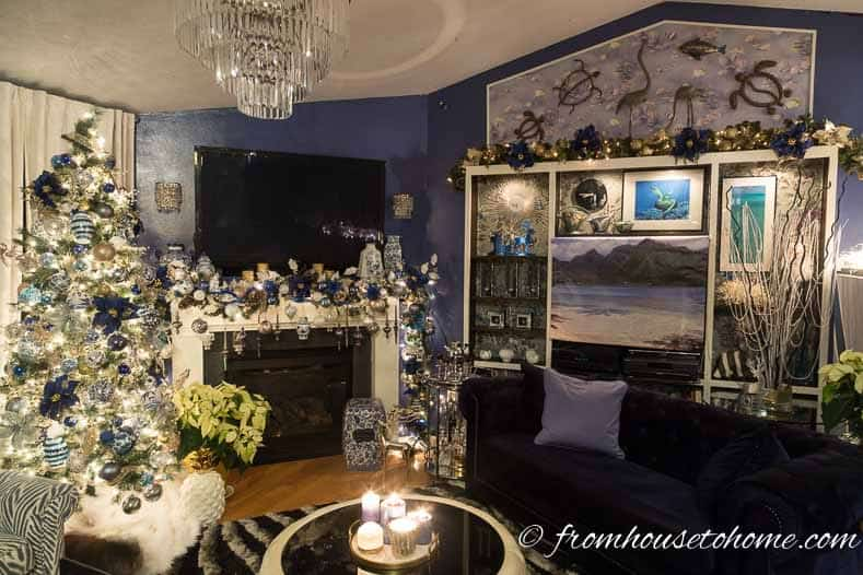 The living room decked out for Christmas | Blue and White Christmas Home Decorating Ideas
