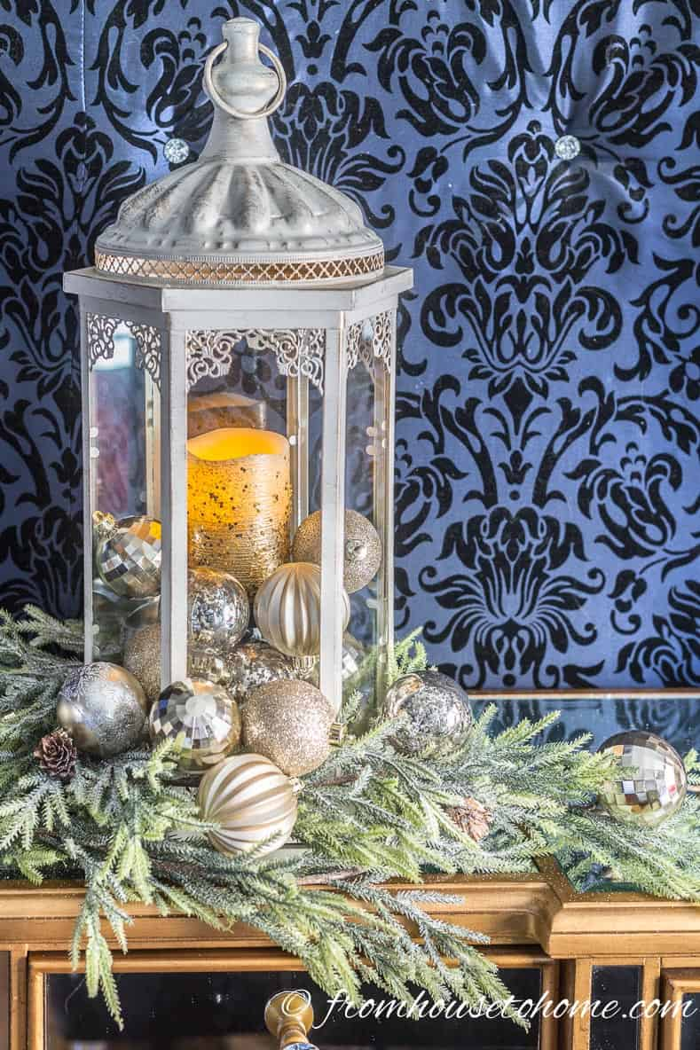 Lantern filled with Christmas ornaments | Blue and White Christmas Home Decorating Ideas