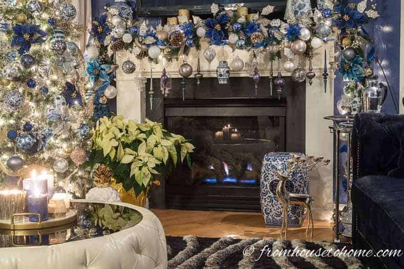 Blue and white Christmas mantel and tree | 40 Stunning Ways to Decorate a Christmas Tree