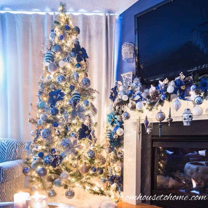 The Christmas tree and garland