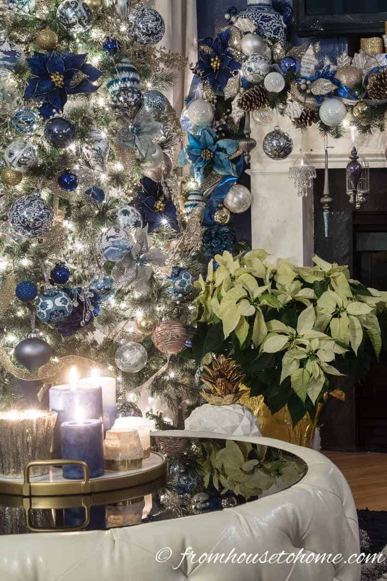 Christmas tree with poinsettia | 40 Stunning Ways to Decorate a Christmas Tree
