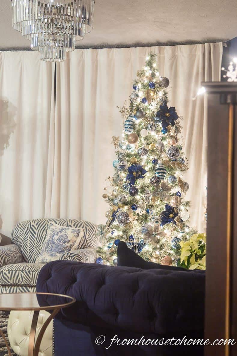 Blue and white Christmas tree is the focal point | 40 Stunning Ways to Decorate a Christmas Tree