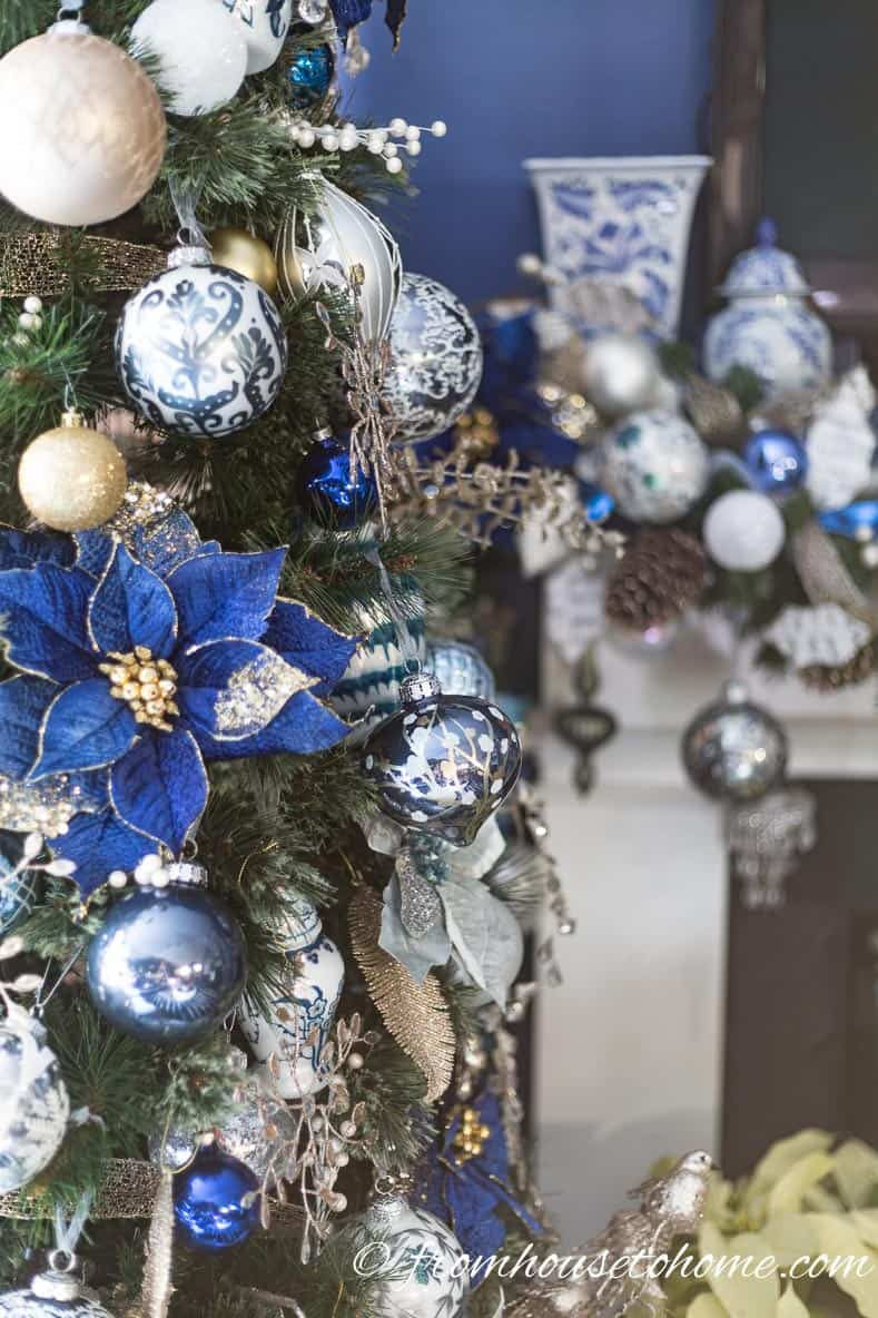 Blue and white Christmas tree and mantel | 40 Stunning Ways to Decorate a Christmas Tree