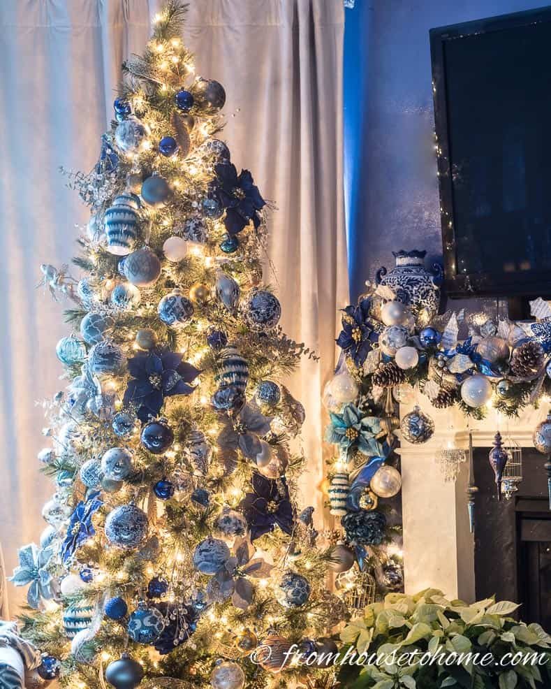 Blue and white Christmas tree | 40 Stunning Ways to Decorate a Christmas Tree