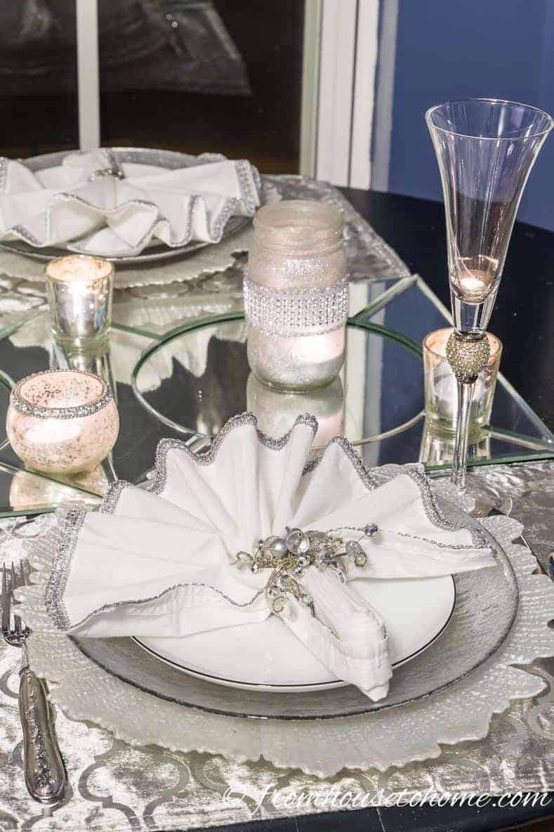 Use mirrors under candles | Easy and Inexpensive Ways To Decorate For Christmas