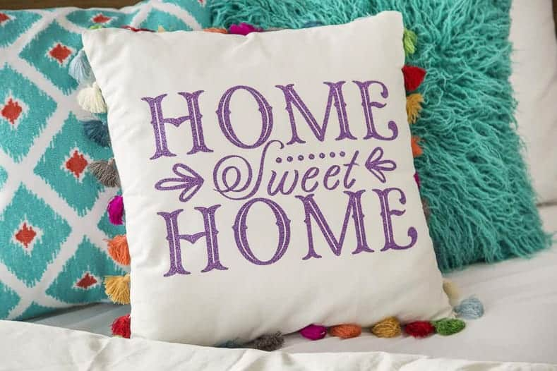 Home Sweet Home pillow made with a Cricut machine