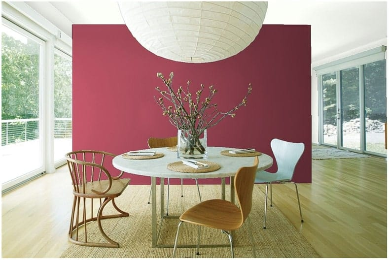 "An accent wall in ""Cherry Wine"" by Benjamin Moore"