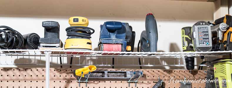 Wire shelving works well for storing power tools