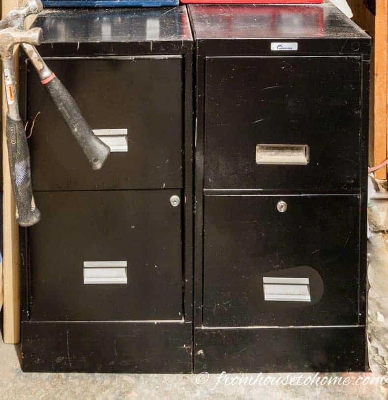 Filing cabinets and small bins help with the tool organization