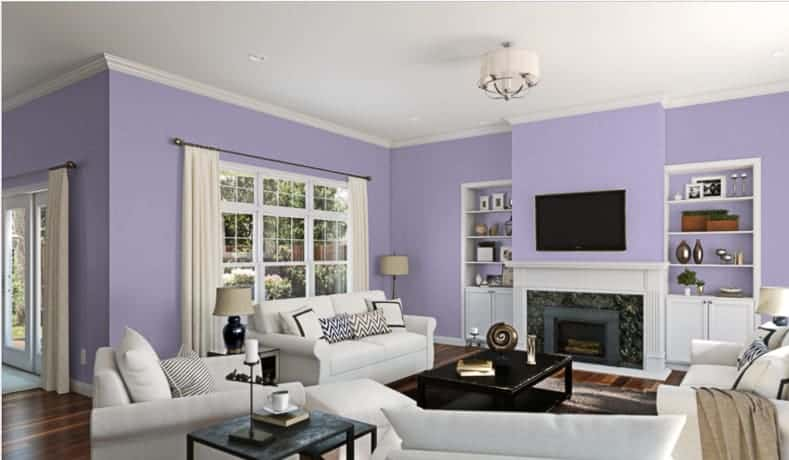 "A living room in ""Wisteria"" by Sherwin Williams"