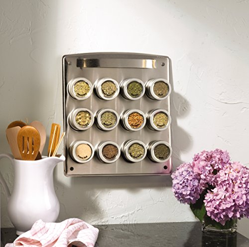 Store-bought magnetic spice rack on the wall