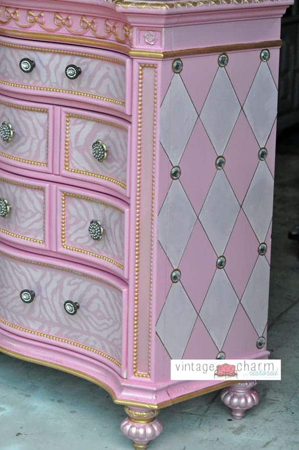 Pink, silver and gold patterned dresser