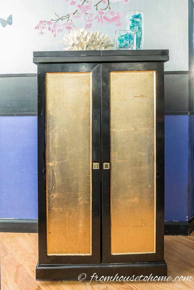 DIY Gold leaf cabinet doors