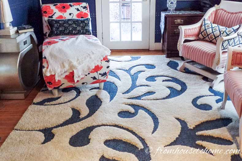 The blue and white area rug