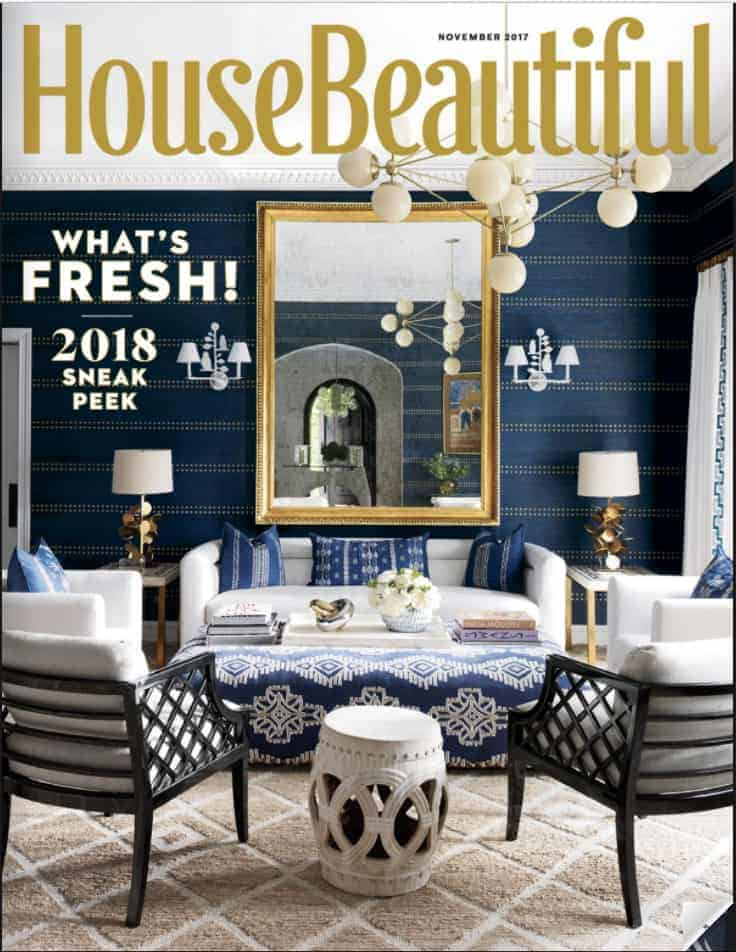 House Beautiful November 2017 cover with gold dot wall