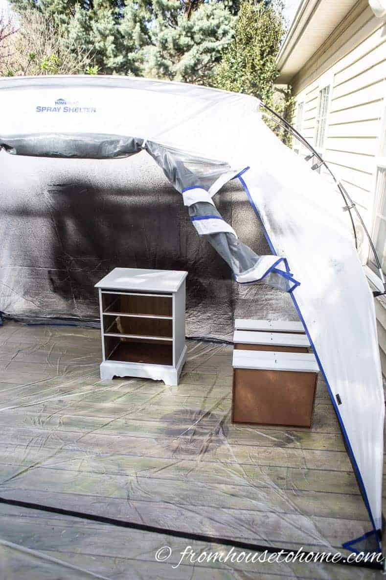 Furniture in paint tent