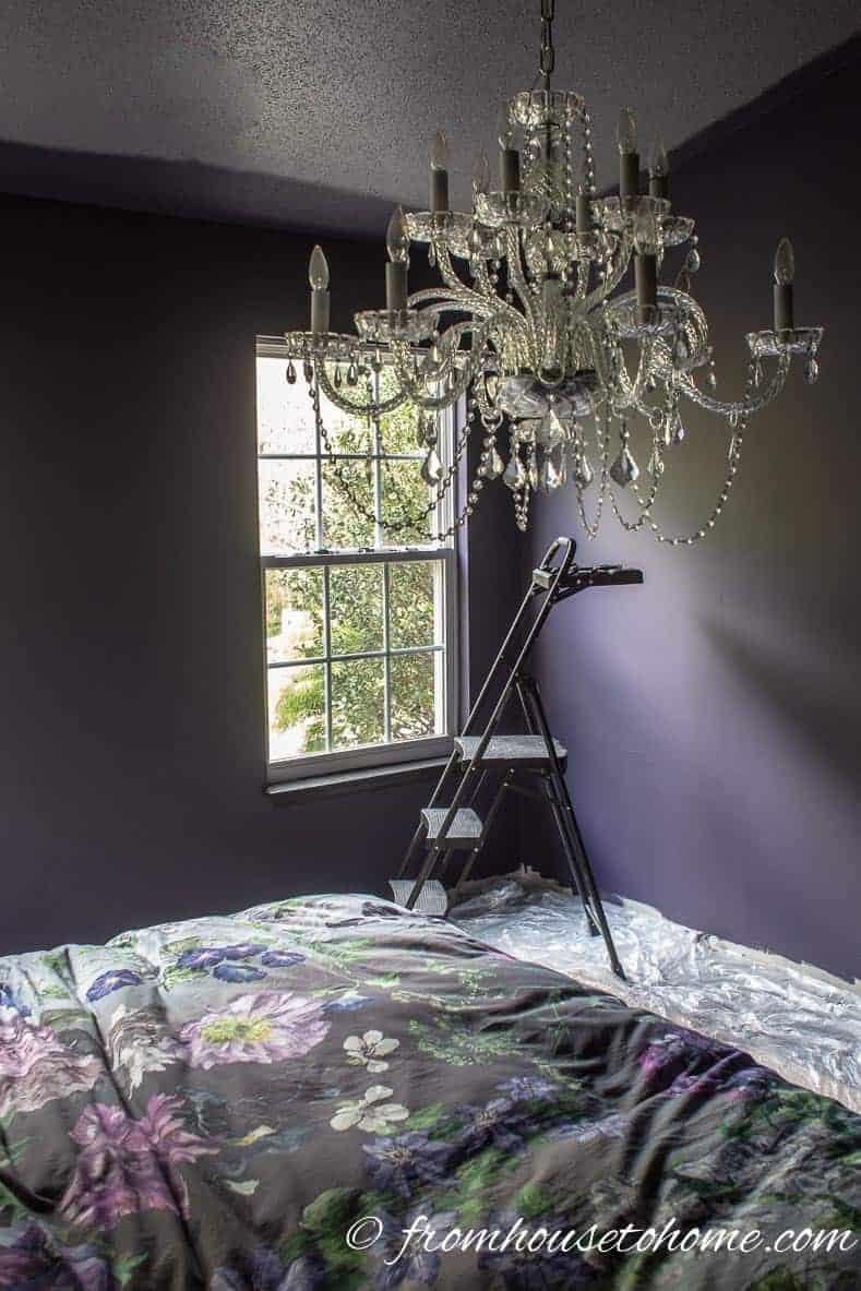 Purple paint in the bedroom