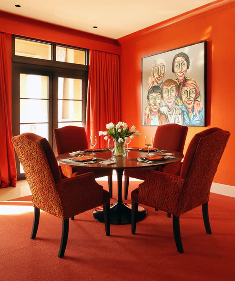 Contemporary orange dining room
