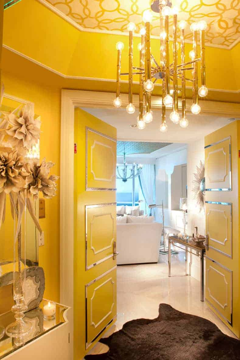 Strong yellow glam entryway
