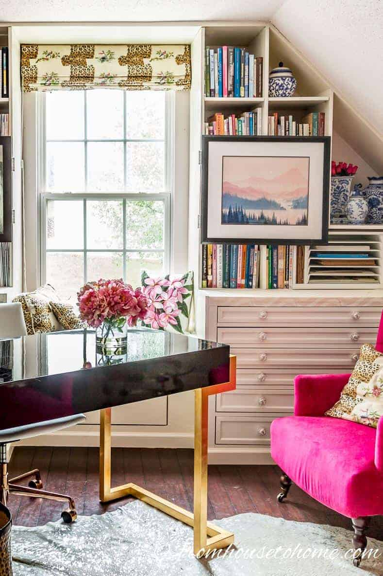 A pink home office is a calming place to work