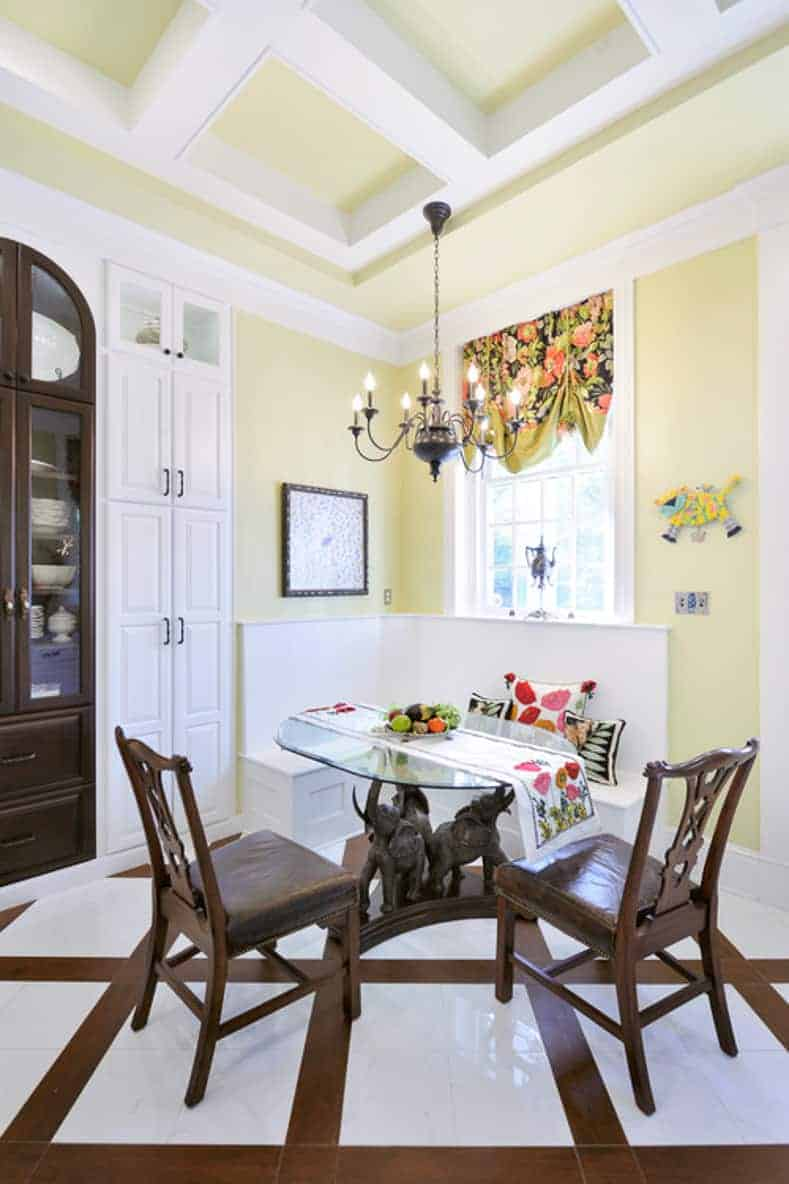 Traditional yellow kitchen nook