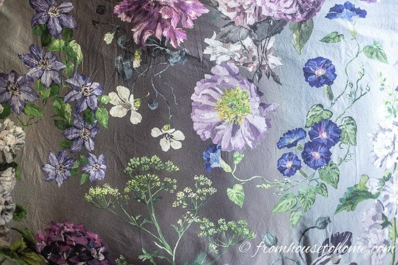 This floral duvet was the inspiration for my master bedroom makeover color scheme