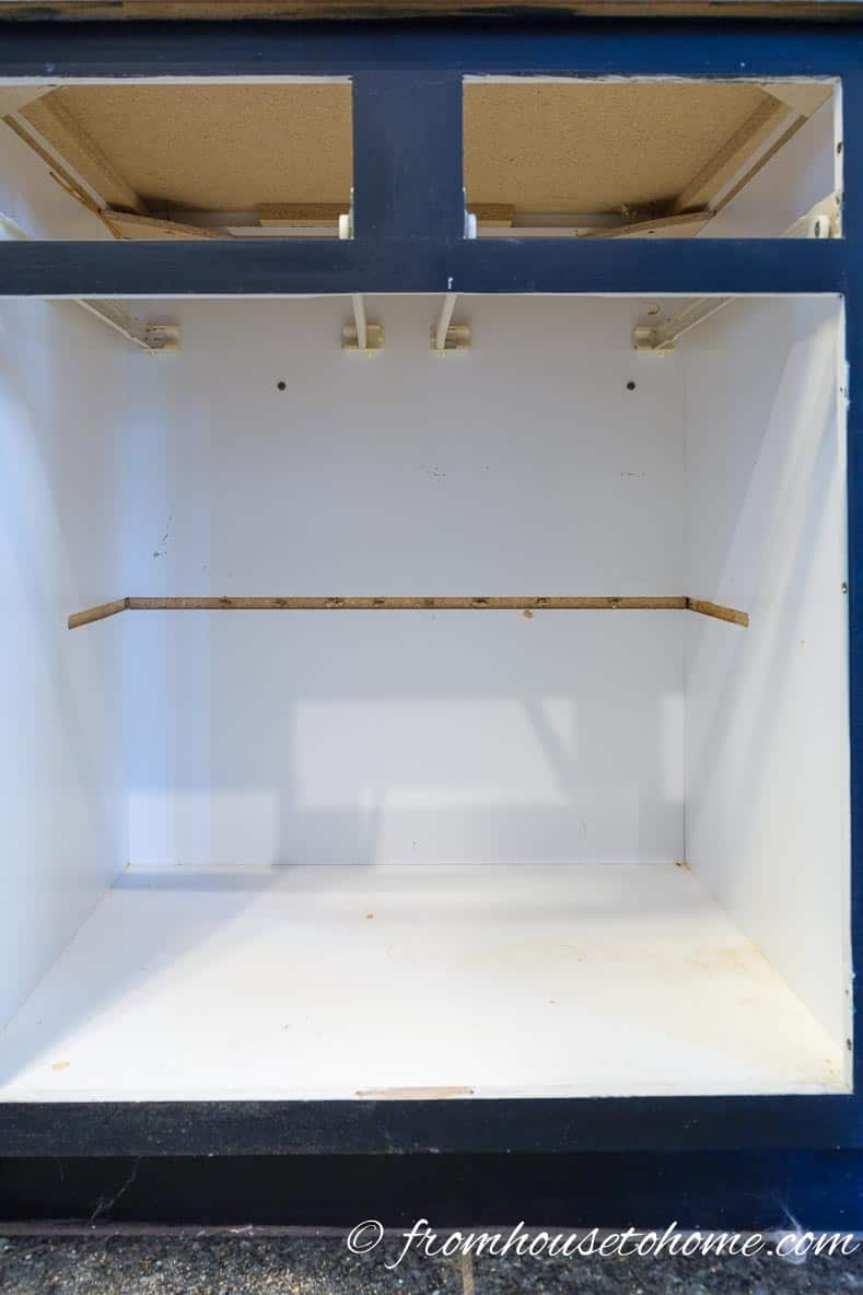 Base kitchen cabinet with the center frame and shelf removed