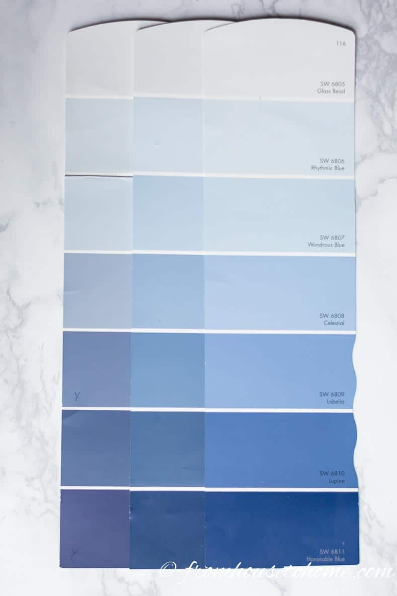 Full length paint color swatches used for choosing paint colors