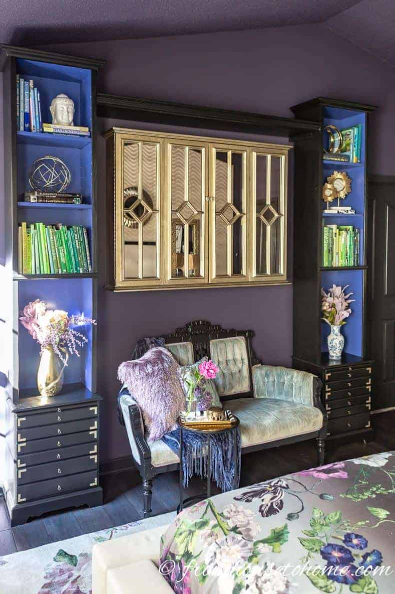 Black adds some drama to the purple walls