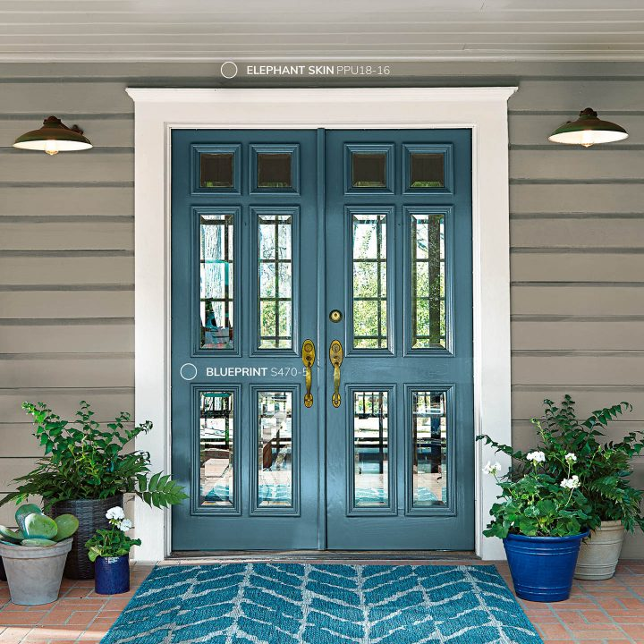 Exterior doors painted with Behr 2019 color of the year 'Blueprint'